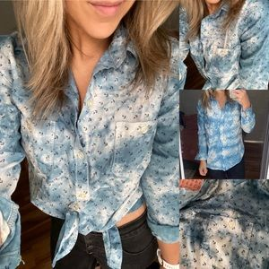 Diy upcycled anchor button down tie dye shirt s